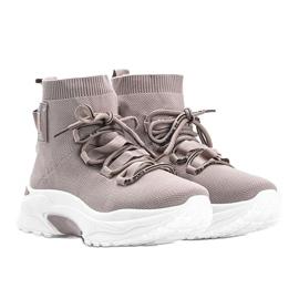 Sneakersy skarpetkowe beżowe Elisa beżowy 3