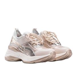 Beżowo złote sneakersy na grubej podeszwie Lea beżowy 1