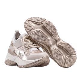 Beżowo złote sneakersy na grubej podeszwie Lea beżowy 2