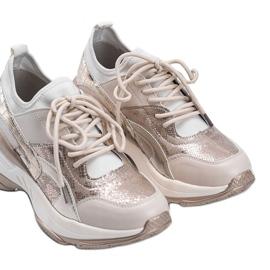 Beżowo złote sneakersy na grubej podeszwie Lea beżowy 3