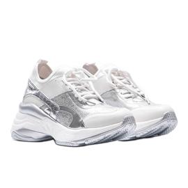 Biało srebrne sneakersy na grubej podeszwie Lea białe 1