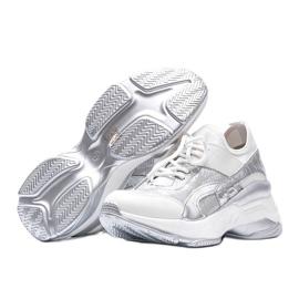 Biało srebrne sneakersy na grubej podeszwie Lea białe 2