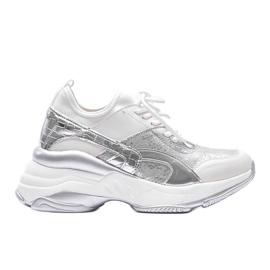 Biało srebrne sneakersy na grubej podeszwie Lea białe 3