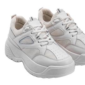 Beżowe sneakersy na grubej podeszwie Jaida beżowy 2