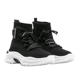 Sneakersy skarpetkowe za kostke czarne Ella 1