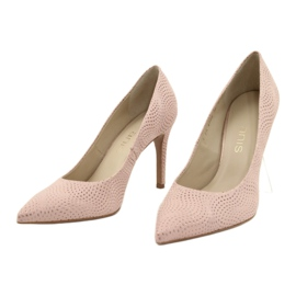 Czółenka buty damskie skórzane Anis 4716 różowe 1