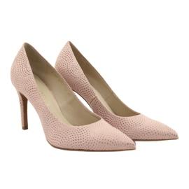 Czółenka buty damskie skórzane Anis 4716 różowe 3