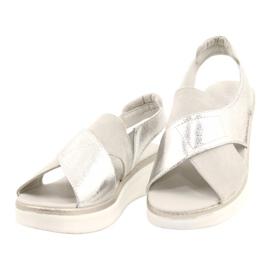 Komfortowe sandały na platformie Sergio Leone SK029 srebrny szare 3