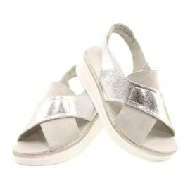 Komfortowe sandały na platformie Sergio Leone SK029 srebrny szare 5