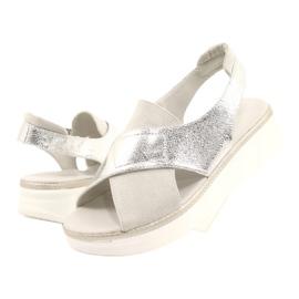 Komfortowe sandały na platformie Sergio Leone SK029 srebrny szare 4