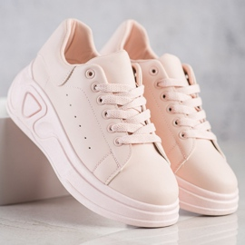 SHELOVET Stylowe Sneakersy Z Eko Skóry różowe 3