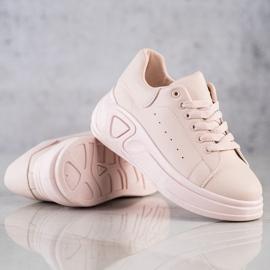 SHELOVET Stylowe Sneakersy Z Eko Skóry różowe 4