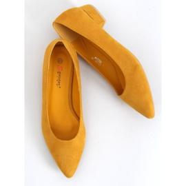 Czółenka na niskim obcasie miodowe CL70P Yellow żółte 1