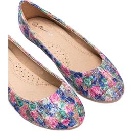 Błyszczące niebieskie balerinki w kwiaty Luz 2