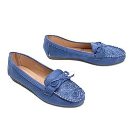 Niebieskie mokasyny z ażurowym wzorkiem Maura 2