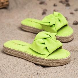 Seastar Zamszowe Klapki Espadryle zielone 2
