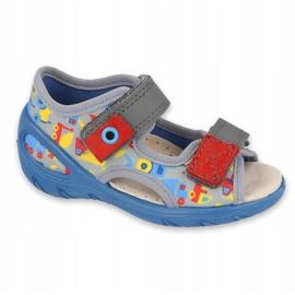 Befado obuwie dziecięce pu 065P162 niebieskie szare wielokolorowe 1