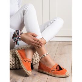 Best Shoes Modne Espadryle Z Ozdobami pomarańczowe 1