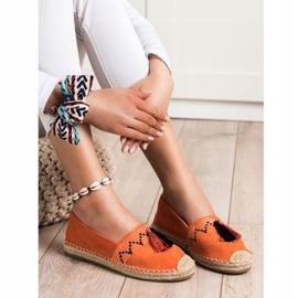 Best Shoes Modne Espadryle Z Ozdobami pomarańczowe 3