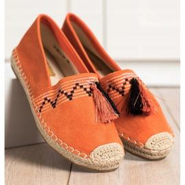 Best Shoes Modne Espadryle Z Ozdobami pomarańczowe 2