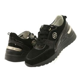 Evento Skóra Damskie Sneakersy Na Koturnie 21PB08-3954 Czarne Laides złoty 2