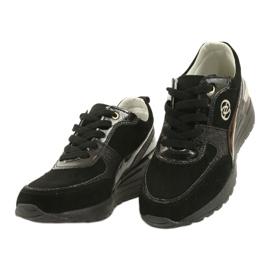 Evento Skóra Damskie Sneakersy Na Koturnie 21PB08-3954 Czarne Laides złoty 1
