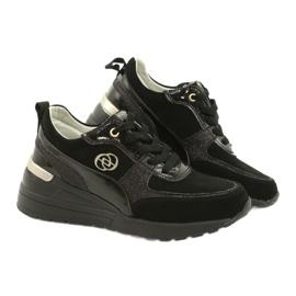 Evento Skóra Damskie Sneakersy Na Koturnie 21PB08-3954 Czarne Laides złoty 4