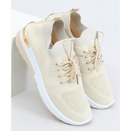 Buty sportowe skarpetkowe beżowe G-363 Beige beżowy 3
