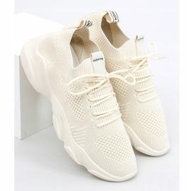 Buty sportowe skarpetkowe beżowe FF-10 Beige beżowy 3