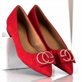 Fama Eleganckie Baleriny Z Ozdobą czerwone 3
