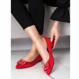 Fama Eleganckie Baleriny Z Ozdobą czerwone 1