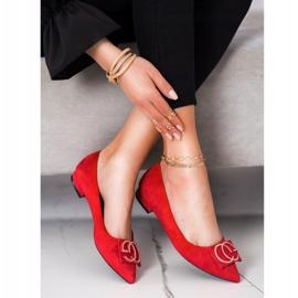 Fama Eleganckie Baleriny Z Ozdobą czerwone 2