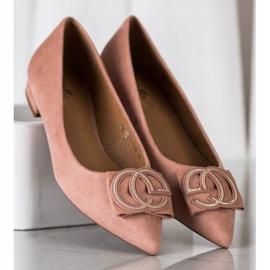 Fama Eleganckie Baleriny Z Ozdobą różowe 1