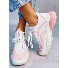 Buty sportowe skarpetkowe białe BX1820-SP WHITE/PINK różowe 1