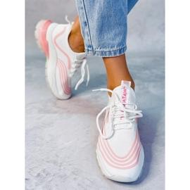 Buty sportowe skarpetkowe białe BX1820-SP WHITE/PINK różowe 2
