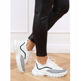 Buty sportowe skarpetkowe białe BX1820-SP WHITE/BLACK czarne 1