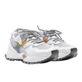 Białe sneakersy na grubej podeszwie z siateczką Elaina wielokolorowe 1