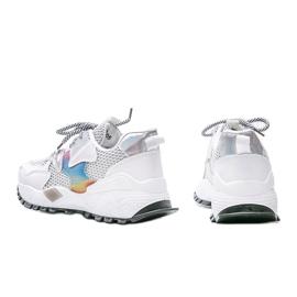Białe sneakersy na grubej podeszwie z siateczką Elaina wielokolorowe 2