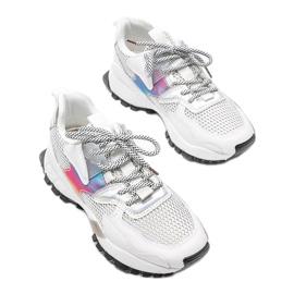Białe sneakersy na grubej podeszwie z siateczką Elaina wielokolorowe 3