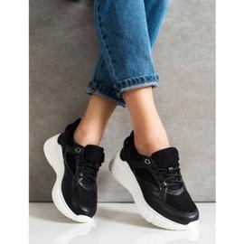 Weide Czarne Sneakersy Z Brokatem 1