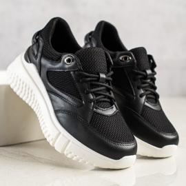 Weide Czarne Sneakersy Z Brokatem 2
