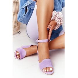 PV3 Welurowe Sandały Na Słupku Fioletowe Visconi 4361537 6