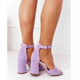 PV3 Welurowe Sandały Na Słupku Fioletowe Visconi 4361537 1