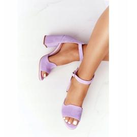 PV3 Welurowe Sandały Na Słupku Fioletowe Visconi 4361537 4