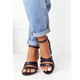 PV3 Skórzane Sandały Na Słupku Czarne Visconi 4400476 4