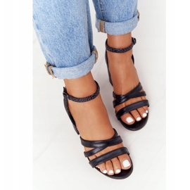 PV3 Skórzane Sandały Na Słupku Czarne Visconi 4400476 5