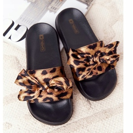 EVE Damskie Klapki Z Kokardą Leopard Beat It brązowe czarne 1
