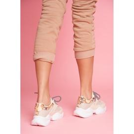 PS1 Sportowe Damskie Buty Wężowe Beżowe Giselle beżowy brązowe złoty 3