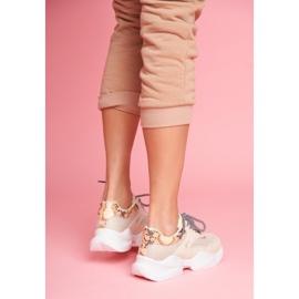 PS1 Sportowe Damskie Buty Wężowe Beżowe Giselle beżowy brązowe złoty 2