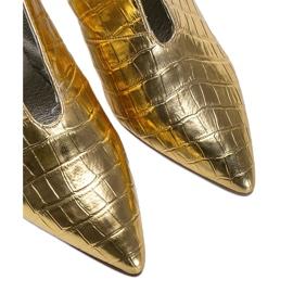 Złote wsuwane botki wzorowane na skórę węża Isabel złoty 3